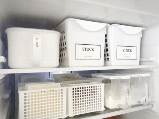 100斤グッズで冷蔵庫収納
